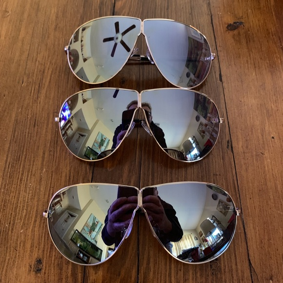 12506aff07 NWT Women Oversize Modern Aviator Sunglasses Gold